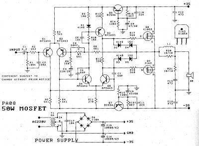 50W Power Amplifier Mosfet (K1058 + J162) Tehnik