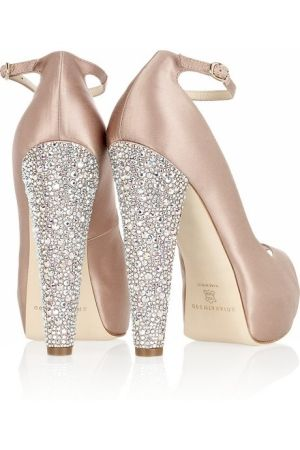 cce19f412a Champagne Satin Ankle Strap Pumps with Swarovski Crystal encrusted Heels.
