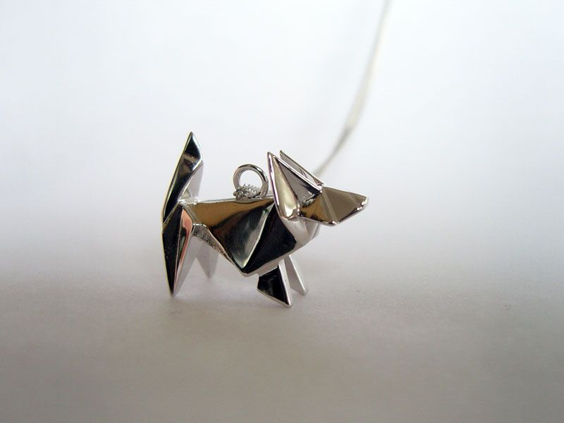 Origami, plata, perro