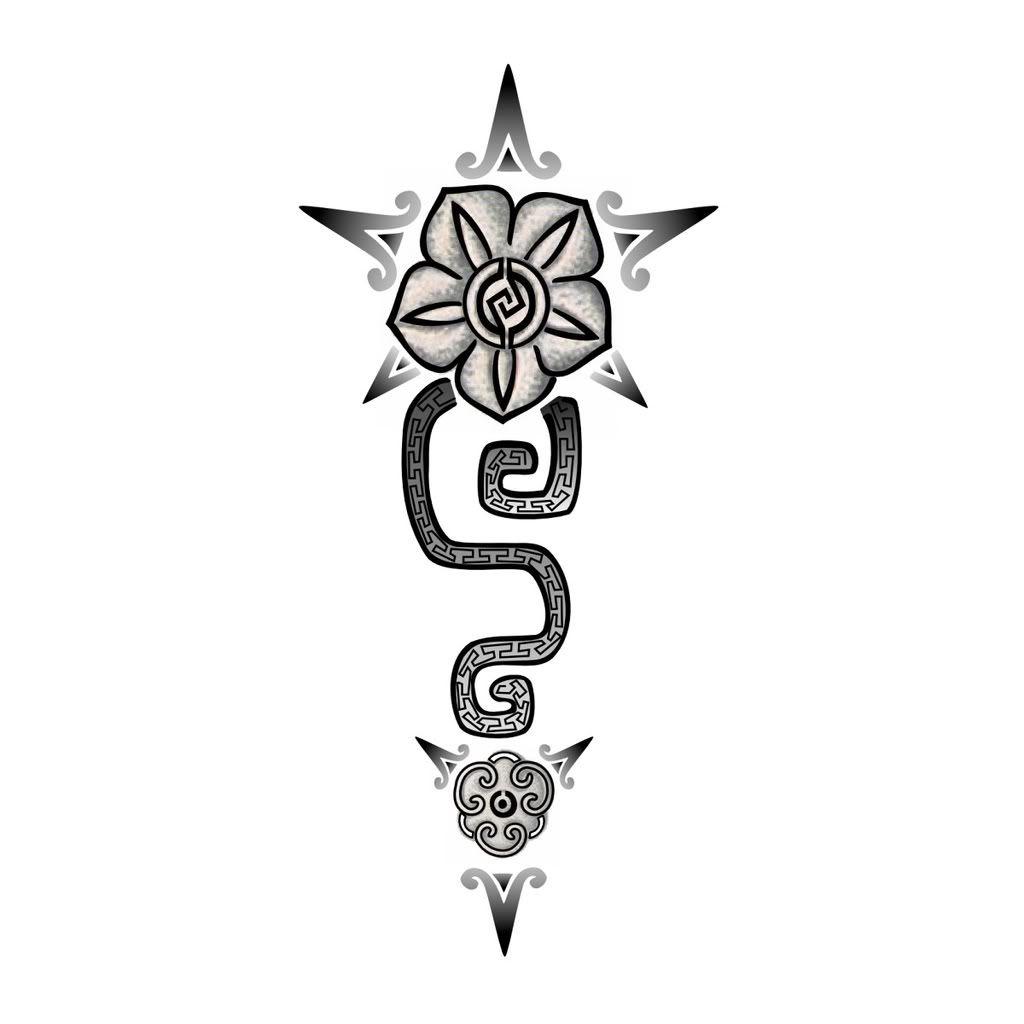 Aztec Flower Tattoo Sample