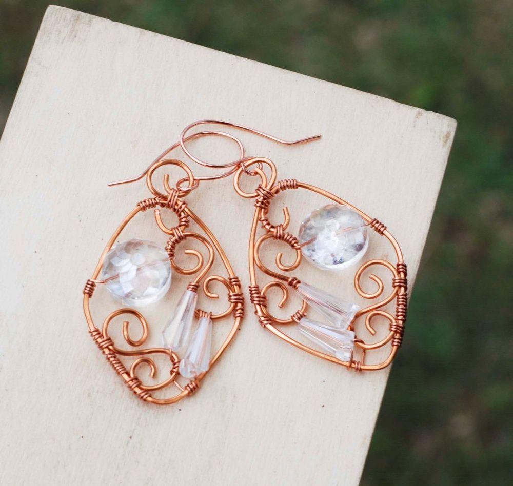 Clear Crystal Diamond Shape Copper Wire Wrap Spiral Earrings Jeanninehandmade #Jeanninehandmade #Wrap