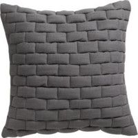 "CB2 - October Catalog - Mason Quilted Grey 18"" Pillow With Down-alternative Insert"