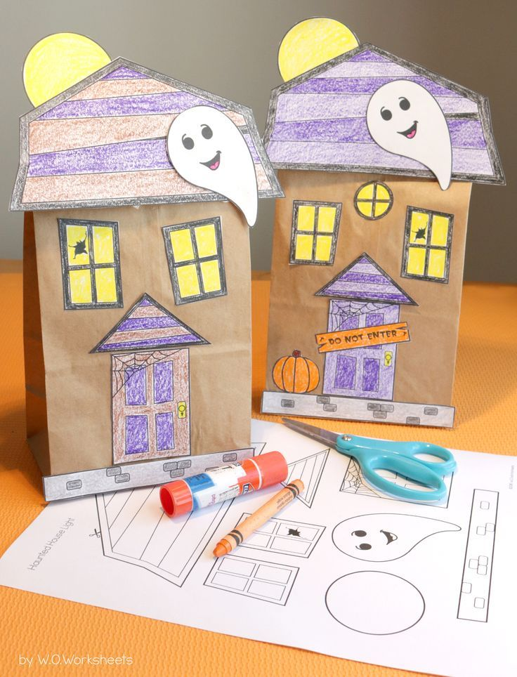 House Craft Ideas For Kids Part - 28: Haunted House Craft - Paper Bag Fun Fall Craft Activity For Halloween Or  October. Perfect