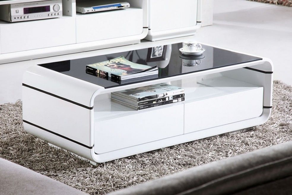 Ida Coffee Tables High Gloss White With Grey Pull Out Drawer | High Gloss,  Drawers And Coffee