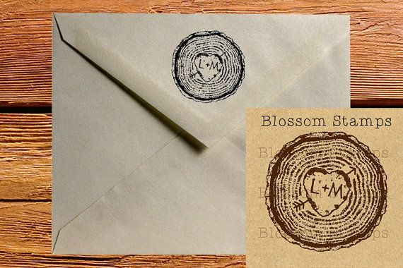 Custom Rustic Tree Ring Carved Heart Rubber Stamp