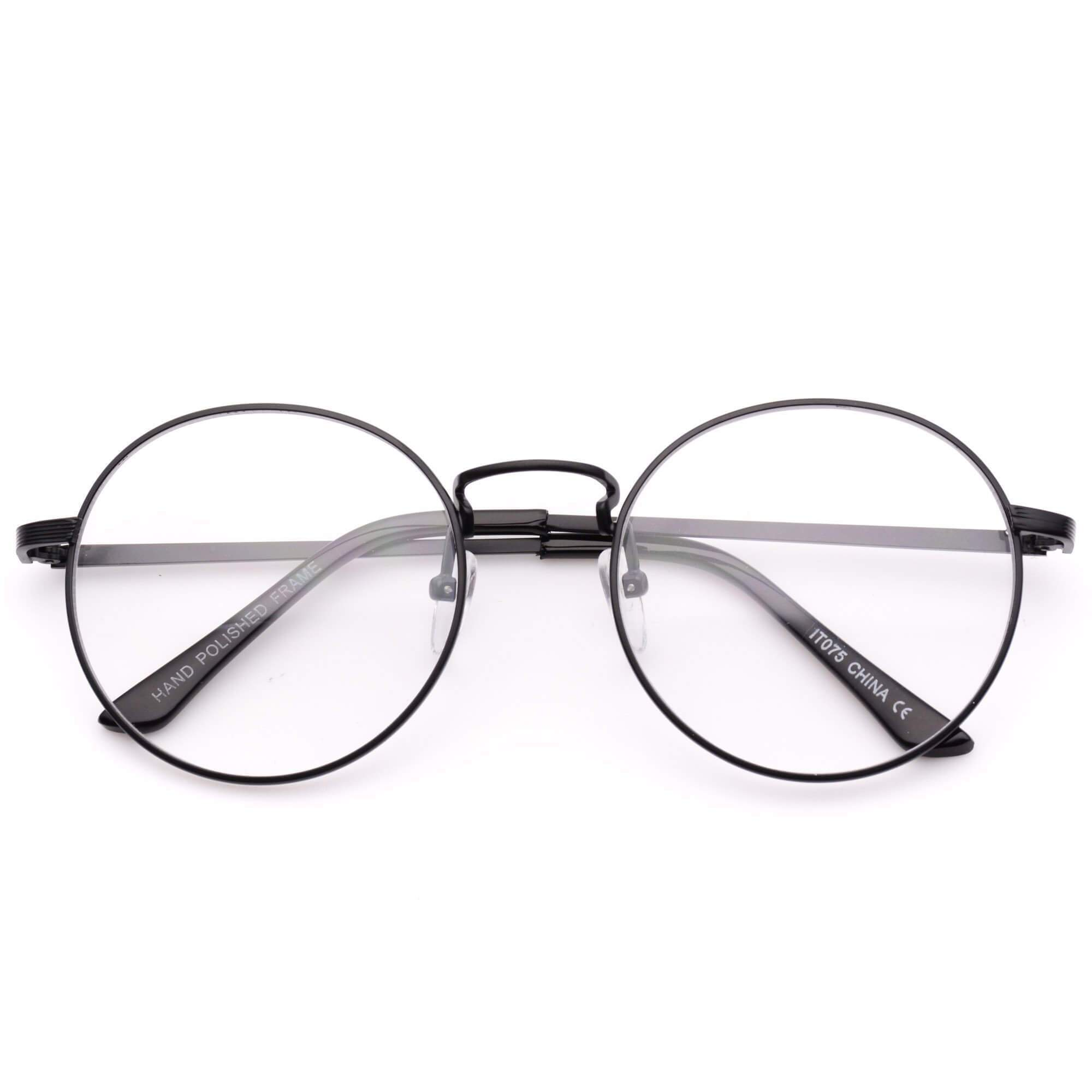 1a8435639b14 Blaine Round Metal Clear Glasses - Trendy Hipster Round Frame Clear ...