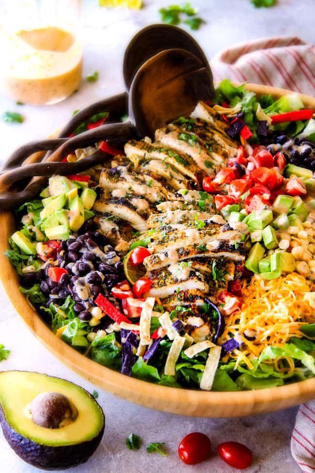 Cilantro Lime Chicken Taco Salad With Creamy Baja Catalina