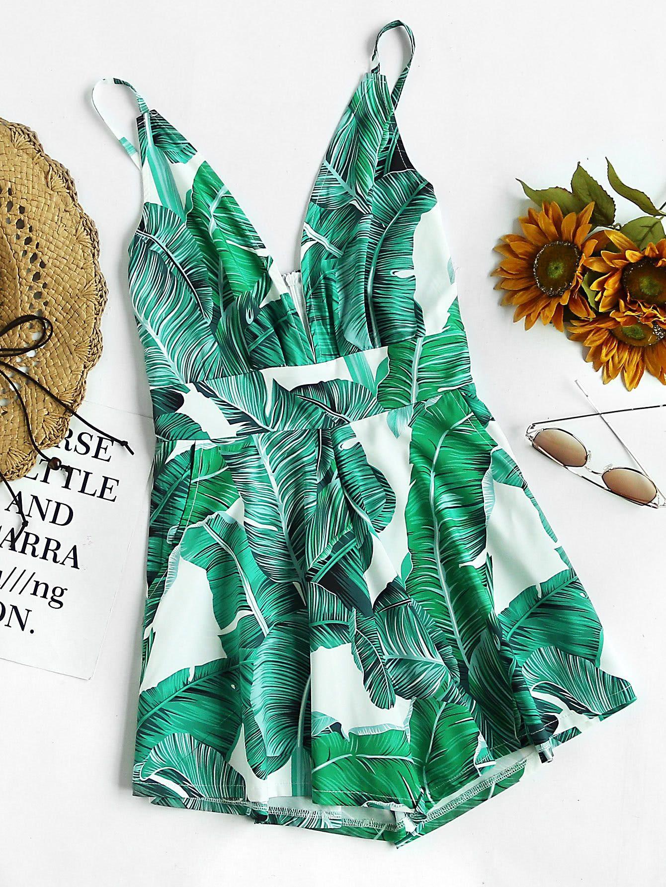 d1d0438bfc Green Palm Leaf Print Plunging Cami Straps Deep V-Neck Sleeveless Zipper  Back Romper