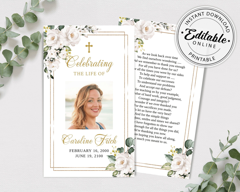 Editable funeral prayer card template printable memorial