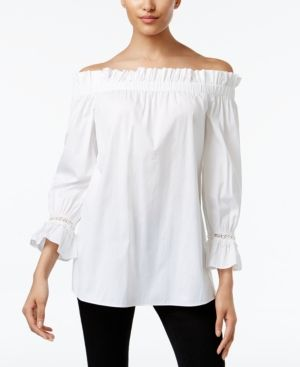 Alfani Prima Ruffled Off The Shoulder Peasant Top Only At Macy S