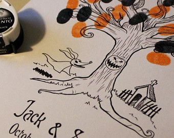 nerdy wedding thumbprint trees to include harry potter, nightmare before christmas, gardians of the galazy, game of thrones, and the last unicorn