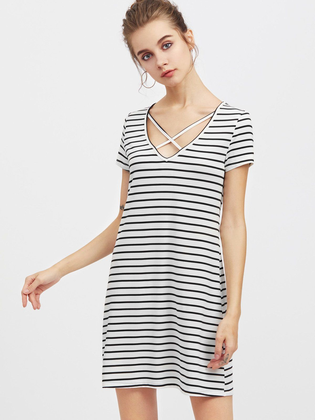 Crisscross v neck striped tee dress striped tee cross designs and