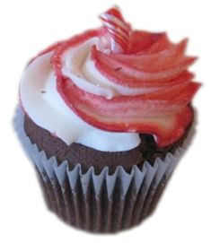 Candy Cane Cupcake - Peppermint Flavored Devils Food Chocolate Cake Topped with Swirled Peppermint Frosting Sparkles and a Candy Cane