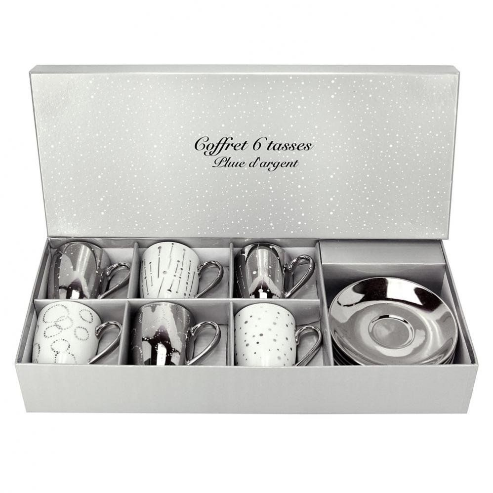coffret 6 tasses et soucoupes cafe pluie d 39 argent. Black Bedroom Furniture Sets. Home Design Ideas