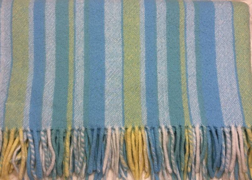 White Blue Yellow Stripe Acrylic Baby Blanket Made in Italy Fringe Luxury | eBay