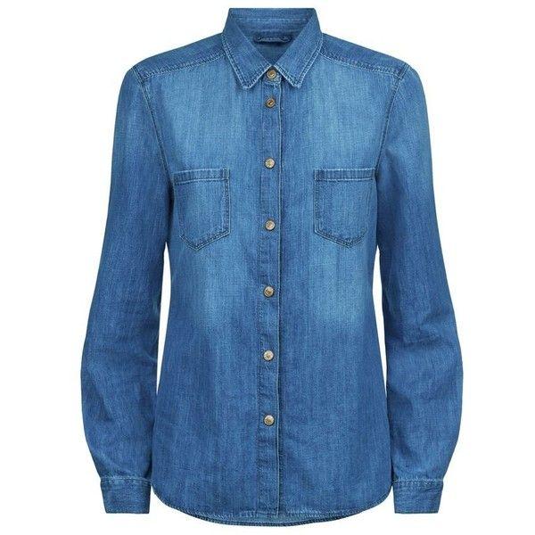 19c938af1c8 7 For All Mankind Easy Denim Pocket Shirt ( 245) ❤ liked on Polyvore  featuring