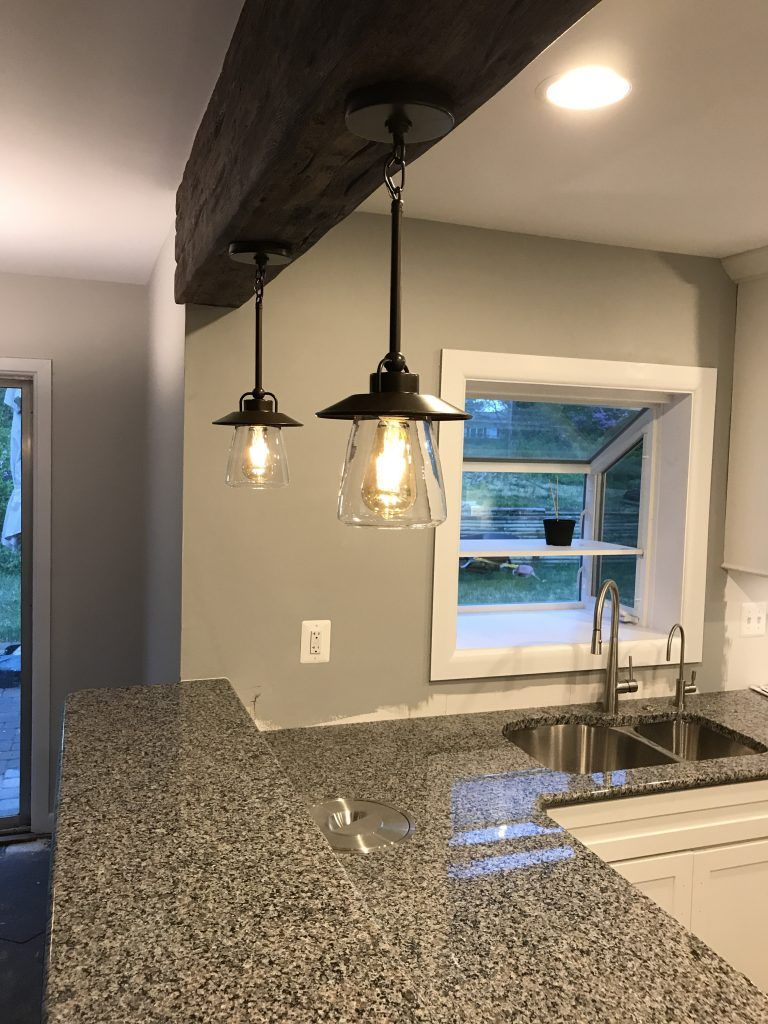 Kitchen Remodel Idea Top It Off With A Beam Faux Wood Workshop Budget Kitchen Remodel Kitchen Remodeling Projects Breakfast Bar Lighting Kitchen breakfast bar pendant lights