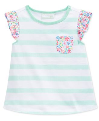 7eac981066 First Impressions Baby Girls  Stripes   Floral-Print Flutter-Sleeve  T-Shirt