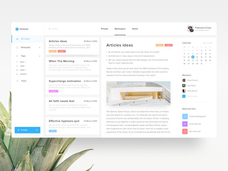 Note App | Modern Logo Design | Web ui design, App design