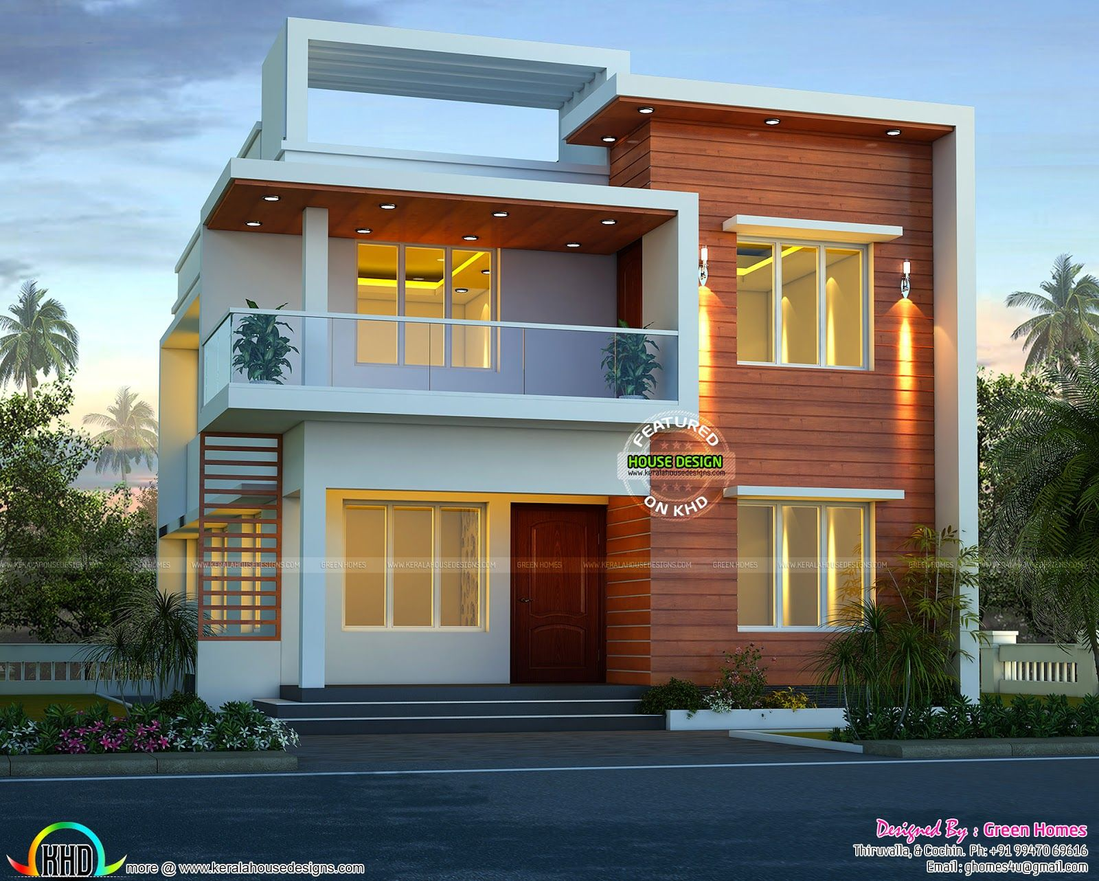 Floor Front Elevation : Cute modern house architecture elevation for