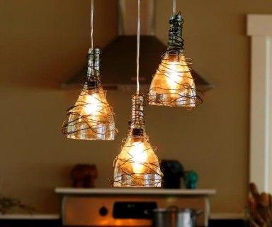 Wine Bottle Pendant Lights | craft | Pinterest | Hof und Basteln
