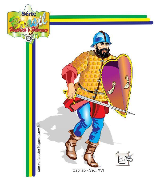 CAPITÃO - SEC. XVI - BRASIL Capitão com adarga, primeira metade do Século XVI. Brasil, Histórico e Pitoresco