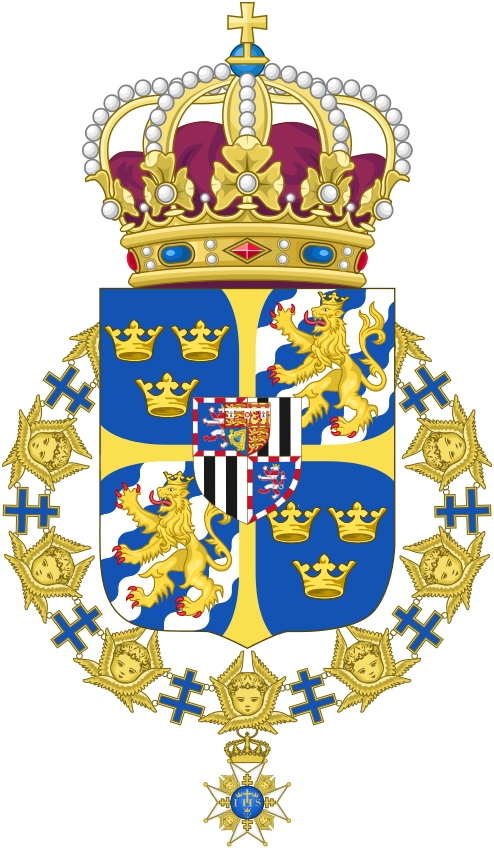 Greater coat of arms of  Louise as Queen Louise of Sweden