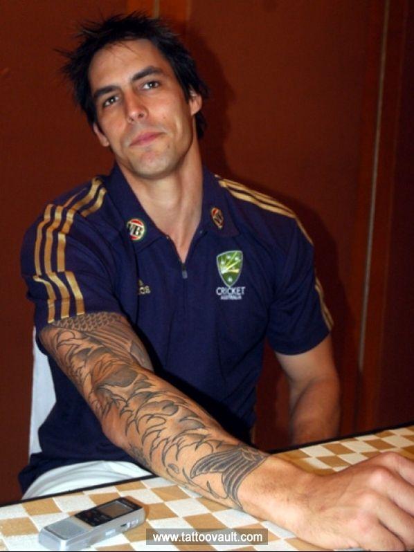 Australian Cricketer Mitchell Johnson Right Hand Full Sleeves Tattoo Mitchell Johnson Celebrity Tattoos Full Sleeve Tattoo