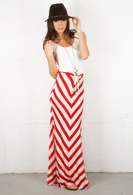 Red and white striped long skirt – Fashionable skirts 2017 photo blog