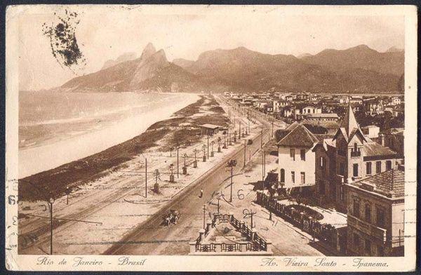 Rio de Janeiro - Ipanema, Av. Vieira Souto - Cartão Postal antigo original, nº 1128, editor não mencionado, 1929.