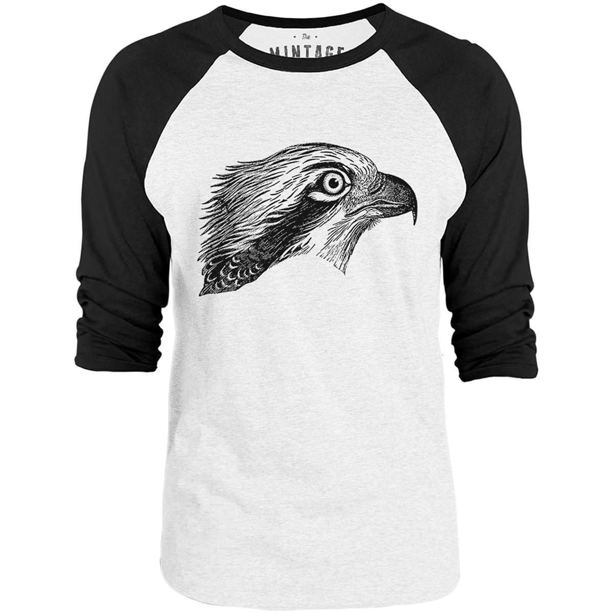 Mintage Hawk Face 3/4-Sleeve Raglan Baseball T-Shirt (White / Black)
