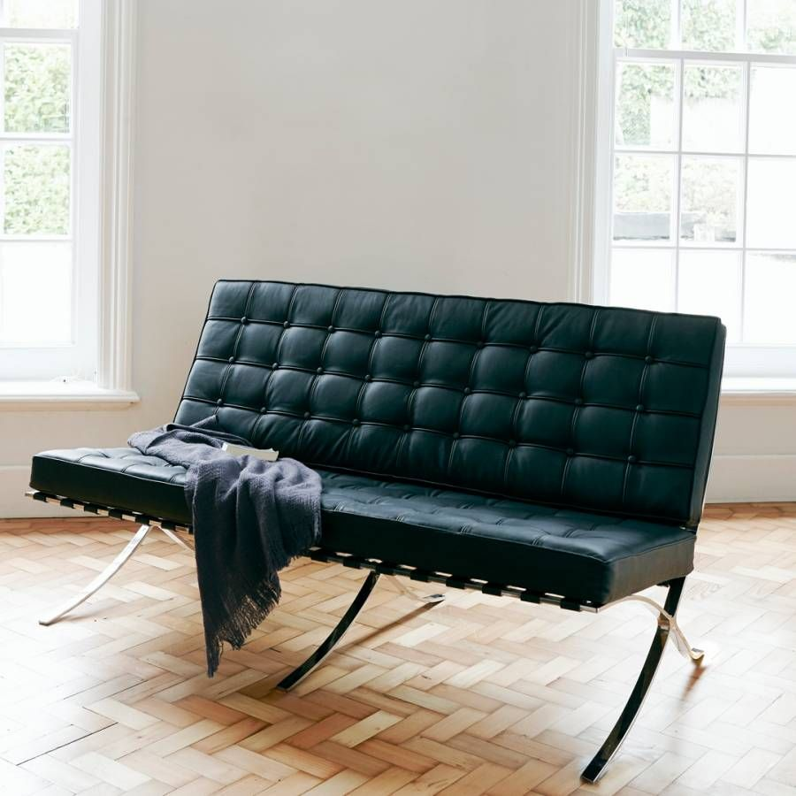 Wallace Sacks Black Leather Barca Two Seater Sofa Brandalley