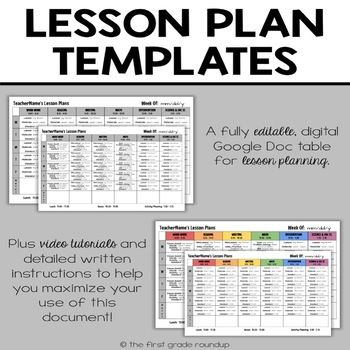 Lesson Plan Template Editable Compatible With Google Drive Lesson