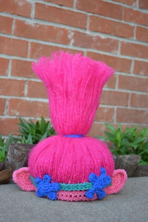 Trolls Crochet Hat, Trolls Hair, Trolls hat, Princess Poppy ...