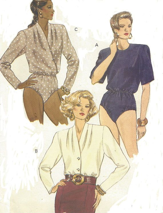 9286a4093e 90s Womens Bodysuit in 3 Styles Mock Wrap Bodysuit Vogue. Find this Pin and  more on Vogue Sewing Patterns Vintage ...