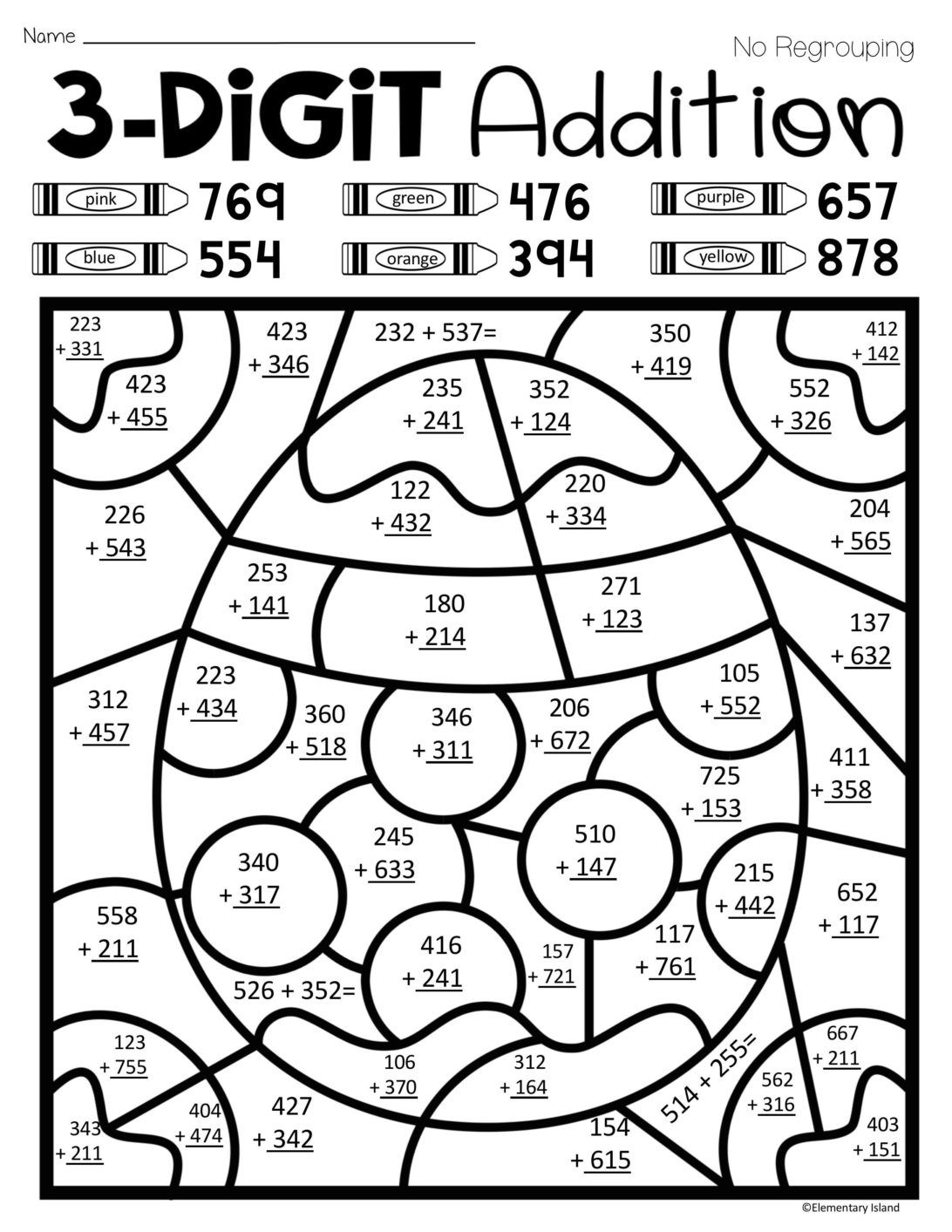 Coloring Pages Easter Spring Three Digit Addition Color
