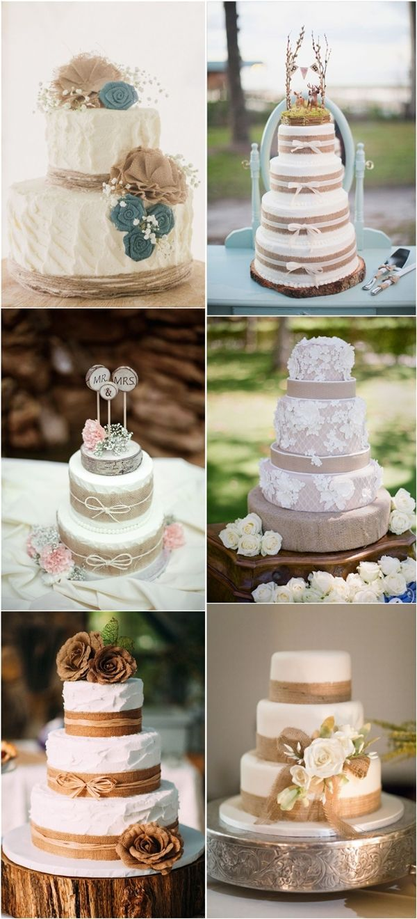 Burlap Wedding Cakes for Country Rustic Weddings / http://www.deerpearlflowers.com/rustic-country-burlap-wedding-cakes/2/