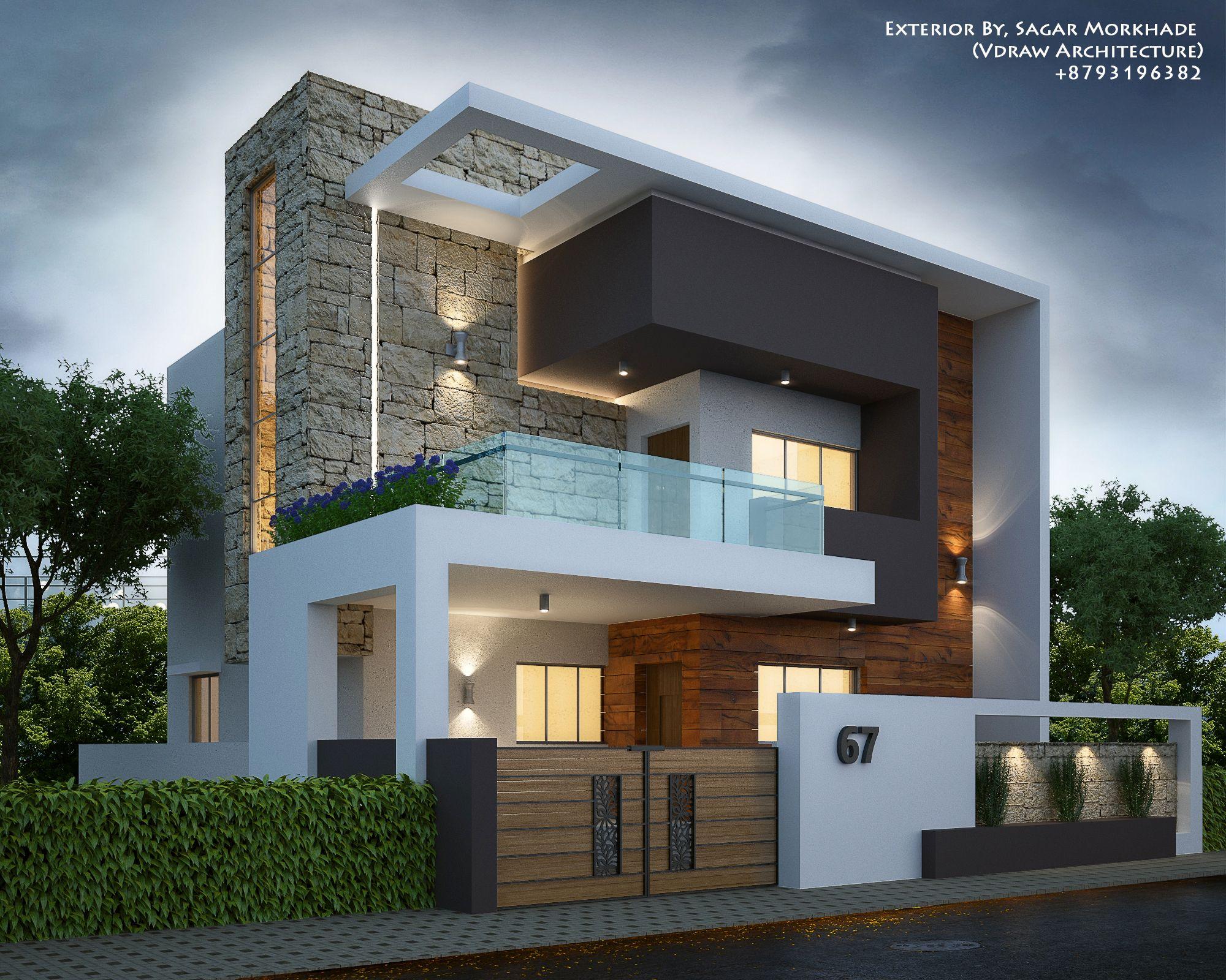 Modern residential exterior by sagar morkhade vdraw architecture 91 8793196382 idalecio - Archi moderni casa ...