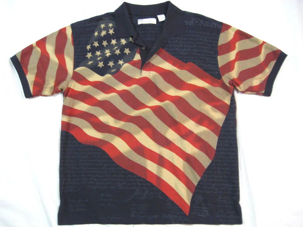 f8caf0bc Declaration of Independence Flag Polo Shirt Size L  #AmericanSummerClothingCo #PoloRugby