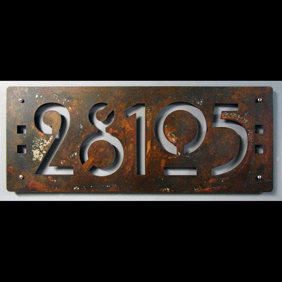 Custom Mission Style House 5 Numbers In Rusted Steel By Studio724 109 00 Craftsman Decor