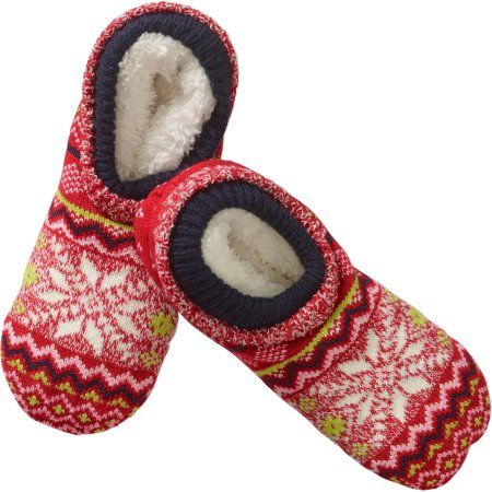 Snowflake Pattern Double Cuff Warmer Slipper Socks with Fur Lining, Size: 9-11, Red