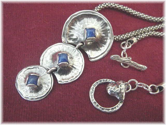 Skipping Stones - Sterling Silver Blue Lapis Circles Pendant Necklace - Artisan Treasure New Age Modernist - Perfect Gift - FREE SHIPPING