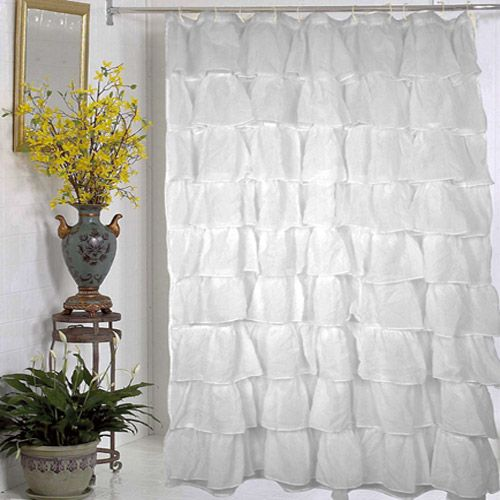 White Carmen Ruffled Bouffant Fabric Shower Curtain