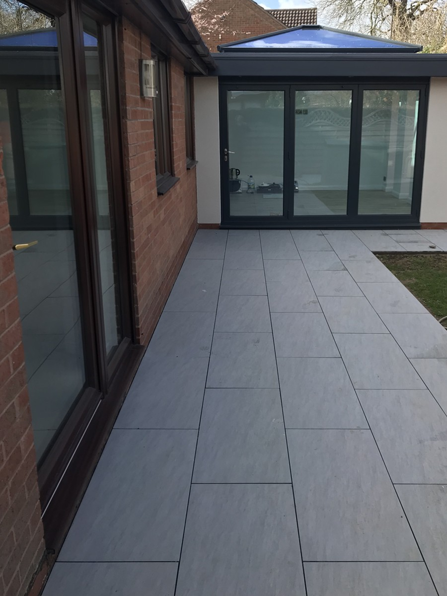 Quartz Gris Smooth Stone Effect Porcelain Paving Slabs 900x450 Pack Outdoor Tile Patio Patio Garden Design Paving Design