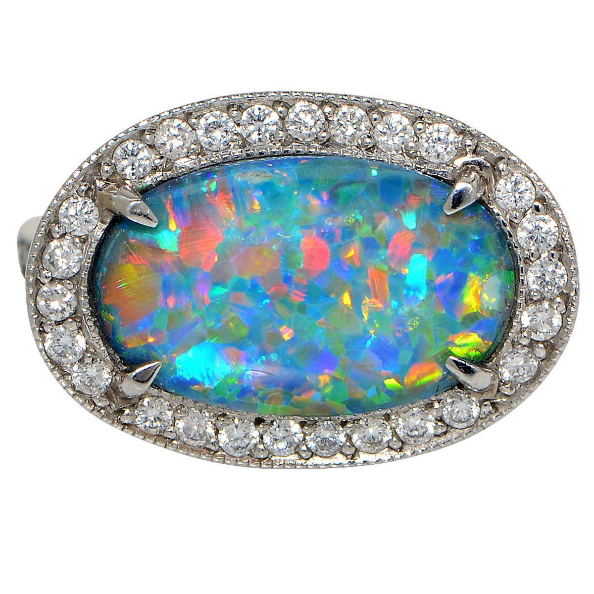 2.77 Carat Opal Diamond Platinum Ring in 2020 Platinum