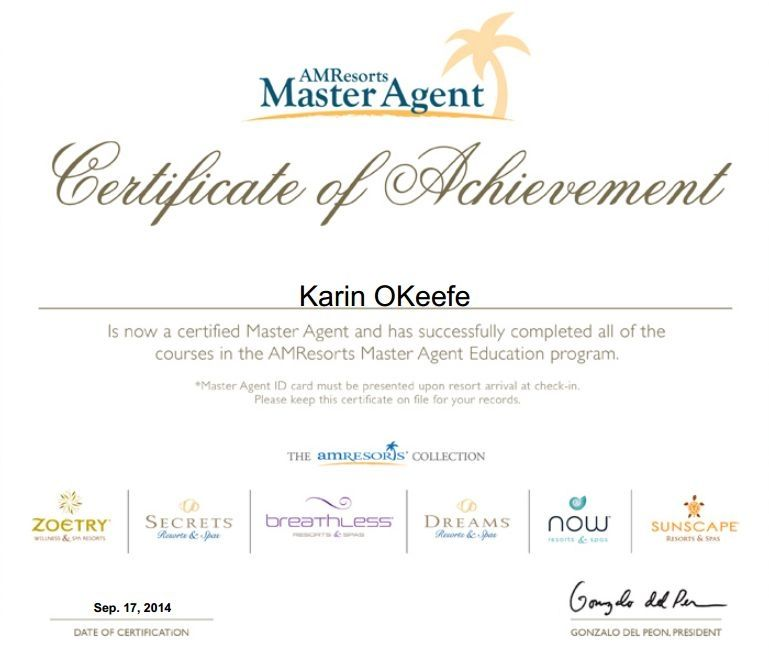 Master Agent For Secrets Dreams Zoetry Now And Sunscape Resorts