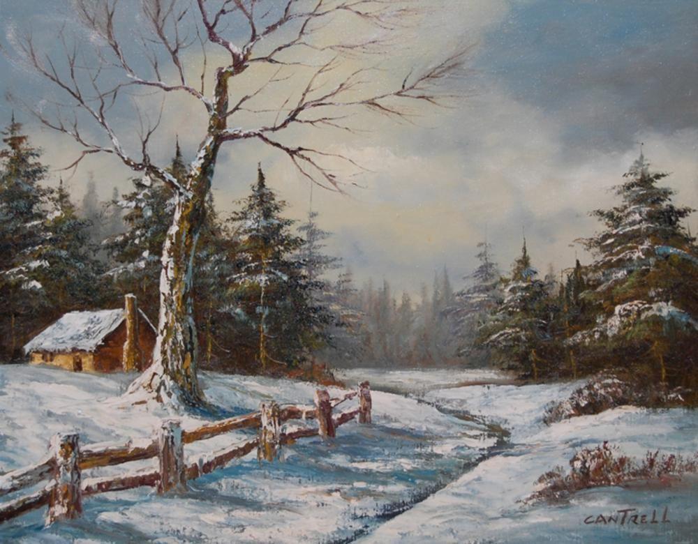 Cantrell Phillip American 1922 Winter Landscape 22 x 28 in framed 28 x 34 in oil on canvas  Cantrell Phillip American 1922 Winter Landscape 22 x 28 in framed 28 x 34 in o...