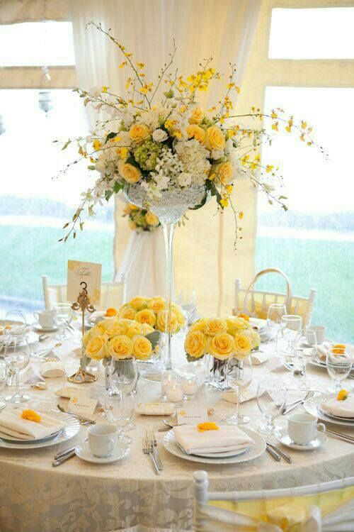 Yola S Yellow Wedding Wedding Table Settings Table Settings Table Decorations