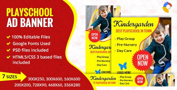 GWD Play School Ad banner - 001 Banner Ads School template