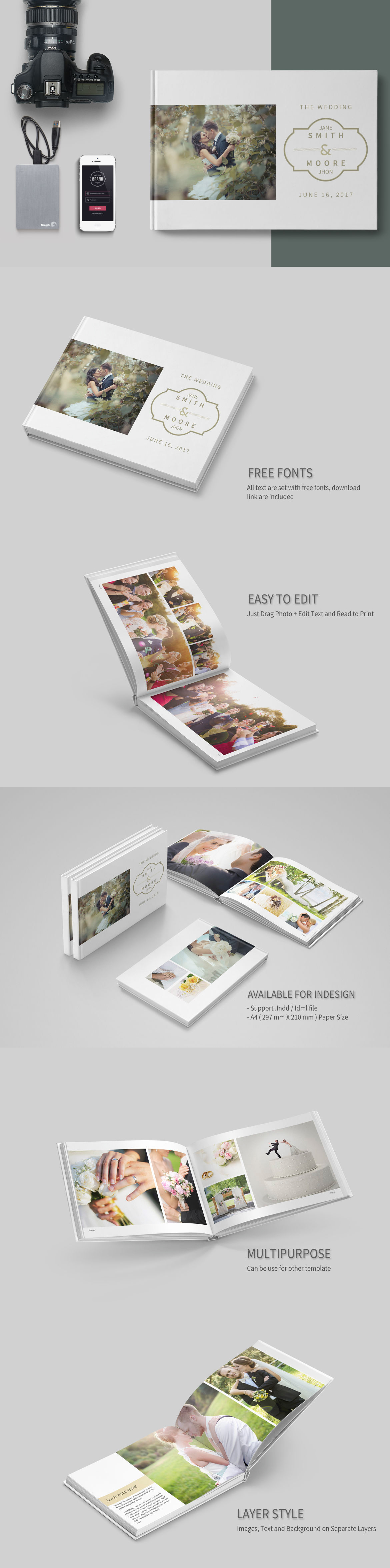 Simple Wedding Album Template InDesign INDD - 28 Pages | Photo Album ...